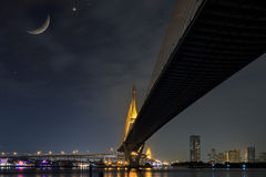 Bhumibol bridge at night Stock Photography