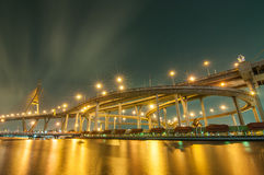 The Bhumibol Bridge at night, Bangkok, Thailand Stock Photos