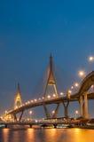 The Bhumibol Bridge at night, Bangkok, Thailand Stock Photos