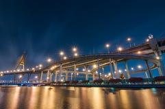 The Bhumibol Bridge at night, Bangkok, Thailand Royalty Free Stock Photos