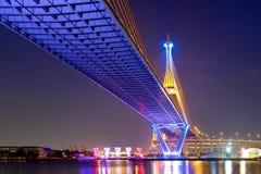 Bhumibol Bridge at night. From bangkok thailand royalty free stock photography
