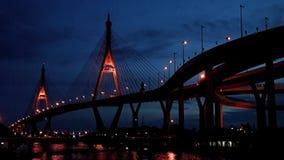 Bhumibol Bridge at night stock video footage