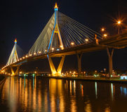 Bhumibol Bridge in night scene Royalty Free Stock Photography
