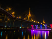 Bhumibol bridge 1. Bhumibol bridge nightlight stock image