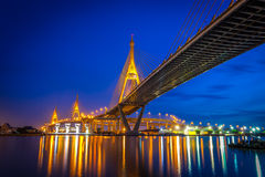 The Bhumibol Bridge onnect Bangkok with Samut Prakan Stock Images