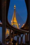 The Bhumibol Bridge. Over the Chao Phraya river in Bangkok, Thailand royalty free stock photos