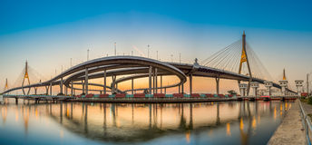 Bhumibol Bridge Panorama with sunset Royalty Free Stock Photo