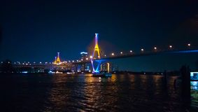 Bhumibol Bridge. Photo, view, sea royalty free stock photo