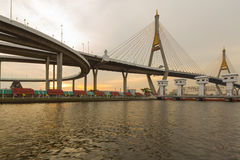 Bhumibol bridge river front view Royalty Free Stock Photo