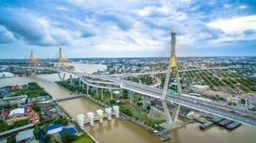 Bhumibol Bridge in Samut Prakan, Thailand Stock Images