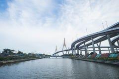 Bhumibol Bridge. In Samut Prakarn Province stock photos