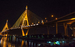 Bhumibol Bridge, Samutprakan,Thailand. Bhumibol Bridge cross over Chaopraya river Royalty Free Stock Images
