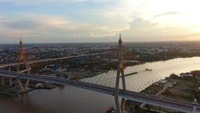 Bhumibol Bridge at sunset, Bangkok City, Thailand.  stock footage