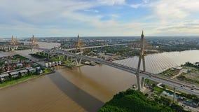 Bhumibol Bridge at sunset, Bangkok city, Thailand.  stock video footage