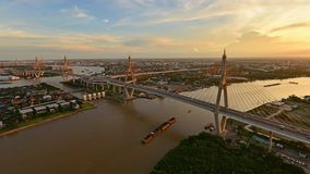 Bhumibol Bridge at sunset, Bangkok, Thailand.  stock video