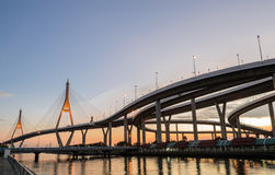 Bhumibol Bridge at sunset in Bangkok, Thailand Stock Photography