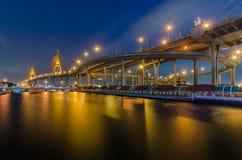 Bhumibol Bridge in Thailand. Bhumibol Bridge in Bangkok, Thailand at night Royalty Free Stock Images