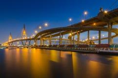 Bhumibol Bridge in Thailand. At bluehour Stock Photos