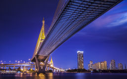 Bhumibol Bridge in Thailand Royalty Free Stock Photos