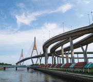 Bhumibol Bridge in Thailand. Stock Images