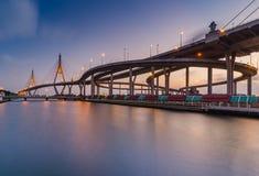 Bhumibol Bridge in Thailand. At sunset Royalty Free Stock Images