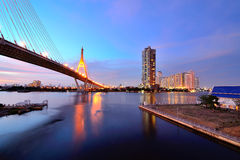 The Bhumibol Bridge at twilight. The Bhumibol Bridge, also known as Industrial Ring bridge on Jan 28, 2013 in Bangkok. It is a part of 13 km long Industrial Ring Stock Photo