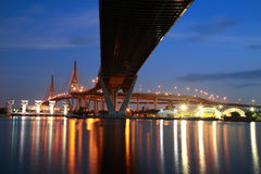 Bhumibol Bridge at twilight sky in Bangkok Stock Photos
