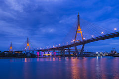 Bhumibol Bridge from under in Night time with reflection Royalty Free Stock Photos