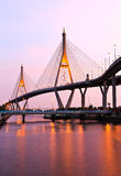 Bhumibol Bridge under twilight Royalty Free Stock Photos