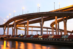 Bhumibol Bridge under twilight Stock Photography