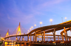 Bhumibol Bridge under twilight Stock Photo