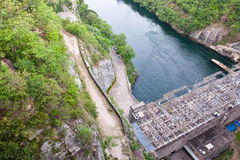 The Bhumibol Dam in thailand. The Bhumibol Dam(formerly known as the Yanhi Dam) in Thailand. The dam is situated on the Ping River and has a capacity of 13,462 royalty free stock image