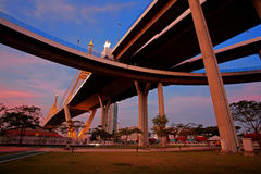Bhumibol or Industrial ring road Bridge Royalty Free Stock Photo