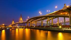 Bhumibol Mega Bridge (Industrial Ring Mega Bridge) at night, Ban Stock Photography