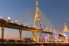 Bhumibol suspension Bridge in Thailand, also known as the Industrial Ring Road Bridge, in Thailand. The bridge crosses the Chao Ph Stock Image