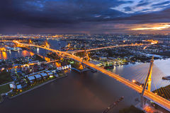 Bhumibol Suspension Bridge in twilight Stock Photo