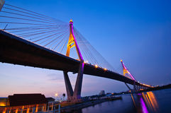 Bhumiphol Bridge. The bridge acrosses Chaopraya river in Thailand royalty free stock photo