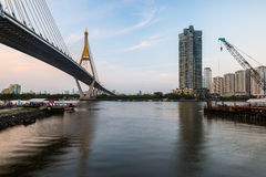 Bhumipol Bridge and Chao Phraya River Royalty Free Stock Images