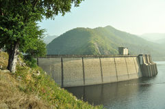 Bhumipol concrete dam with nature background in Trat province, Thailand Stock Photo