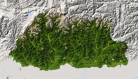 Bhután, correspondencia de relevación sombreada. Fotografía de archivo