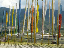 Bhután - indicadores del rezo sobre Thimphu Imagen de archivo
