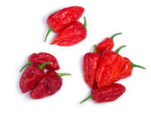 Bhut Jolokia ghost pepper piles, paths, top view. Piles of Bhut Jolokia ghost chili peppers Capsicum frutescens x Capsicum chinense hybrid. Clipping paths Stock Photos