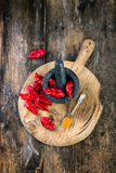 Bhut Jolokia on wooden table Royalty Free Stock Photo