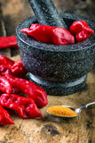 Bhut Jolokia on wooden table Stock Photography