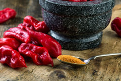 Bhut Jolokia on wooden table Royalty Free Stock Image