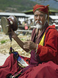 Bhutan. A Buddhist pilgrim outside the Paro Dzong in the Kingdom of Bhutan Royalty Free Stock Image