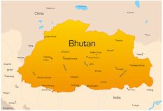 Bhutan. Vector map of Bhutan country Stock Image