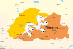 Bhutan. Vector map of Bhutan country colored by national flag Royalty Free Stock Image