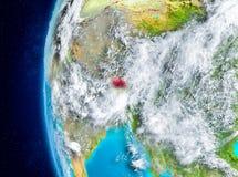 Bhutan auf Erde vom Raum Lizenzfreies Stockfoto