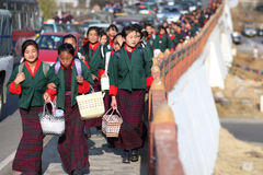 bhutan barnskola Royaltyfri Foto